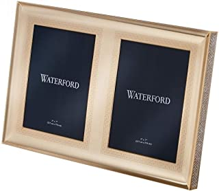 Waterford Lismore Diamond Gold 5 x 7 Inch Double Picture Frame