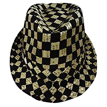 Dress Up America Unisex-Adult s Gold Checkerboard Fedora Hat One Size Fits Most