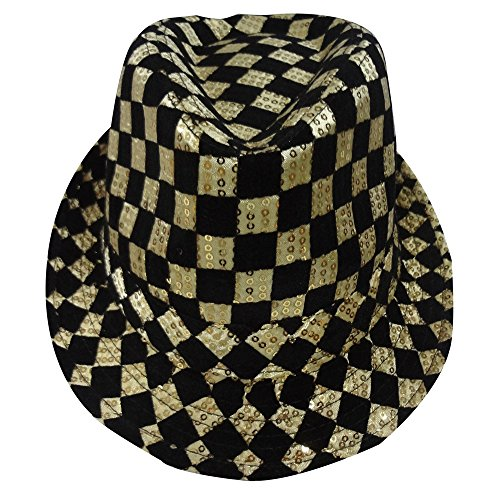 Dress Up America Sombrero Fedora con Tablero de ajedrez de Oro para Adultos