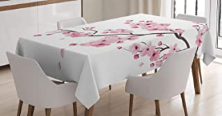 ABAKUHAUS Asiatique Nappe, Cherry Branch Japonaise, Linge de Table Rectangulaire pour Salle à Manger Décor de Cuisine, 140...