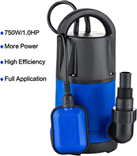 Hosmat 1HP Sump Pump Clean/Dirty Submersible Water Pump with Float Switch for Swimming Pool Garden House (1 HP Blue)