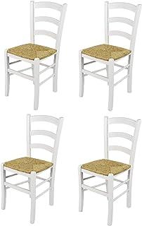Tommychairs - Set 4 sillas Venezia para Cocina y Comedor, Estructura en Madera de Haya barnizada Color Blanco y Asiento en Paja
