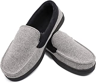 Hotme Men's Memory Foam Moccasin Slippers House Shoes with Indoor Outdoor Anti-Skid Rubber Sole