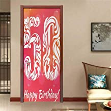 50th Birthday Traditional Waterproof Home Decor Vibrant Backdrop Stylized Font Floral Swirls and Stars Artwork Print Cute Sticker Pink Orange White W30 x H80 INCH