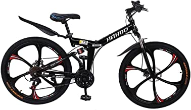 Mens Mountain Bike, 26 Inch Wheels, 21 Speed Folding, Non-Slip Dual Disc Brakes, Full Suspension, Geared Bicycle for Adult...