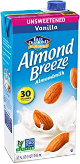 Almond Breeze Dairy Free Almondmilk, Unsweetened Vanilla, 32-Ounce Boxes (Pack of 12)