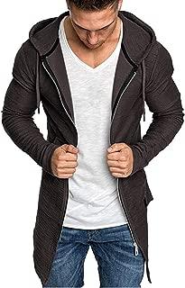 Sunward Coat for Men,Men Splicing Hooded Solid Trench Coat Jacket Cardigan Long Sleeve Outwear Blouse