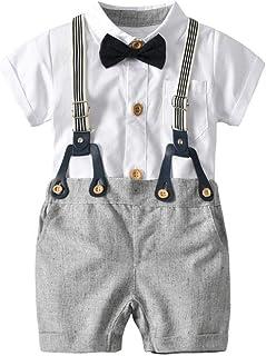 TTLOVE Kinder Baby Kleinkind Junge Kleidung Infant Boy Gentleman Anz/üGe Kurzarm Strampler Shorts Outfit Set Sommer Studentischer Stil Babys Kleidung Taufe Hochzeit Weihnachten