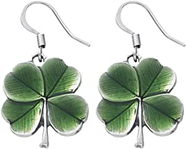 product image for DANFORTH - Clover/Green Earrings - 3/4 Inch - Surgical Steel Wires - Pewter - Handcrafted - Made in USA