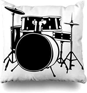 Ahawoso Throw Pillow Cover Instrument Band Hand Drawn Drum Kit Percussion Music Acoustic Bass Beat Concert Decorative Pillow Case 20x20 Inches Square Home Decor Pillowcase
