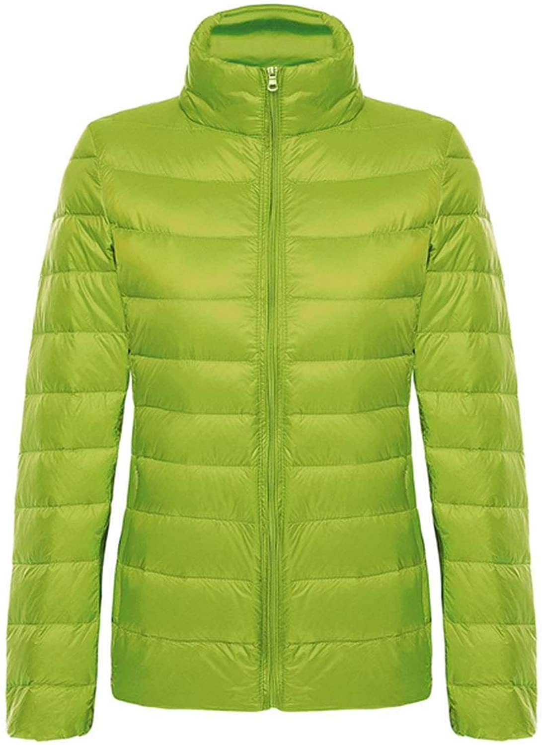Don't mention the past Women Hooded Duck Down Coat Ultra Light Warm Large Size Solid Portable Collar Down Coat,Grass Green,XL