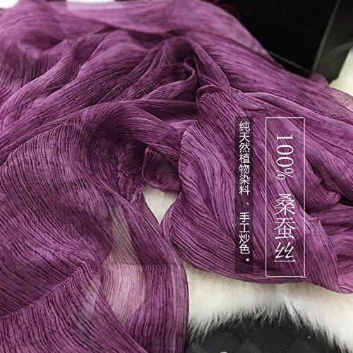YRXDD Lady Ultra-Seda utilizando más Colores sólidos Micro-Arruga Sauna pañuelo de Seda Largo mantón de Toallas