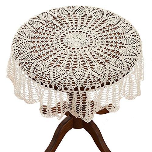 Gracebuy - Mantel redondo de encaje de crochet hecho a mano 100 % algodón,...