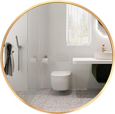 LFT HUIMEI2Y Espejo de pared redondo de 40,64 cm, marco de metal dorado, espejo circular montado en la pared, espejo de tocad