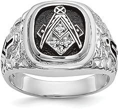 14K White Gold AA Diamond Men's Masonic Ring
