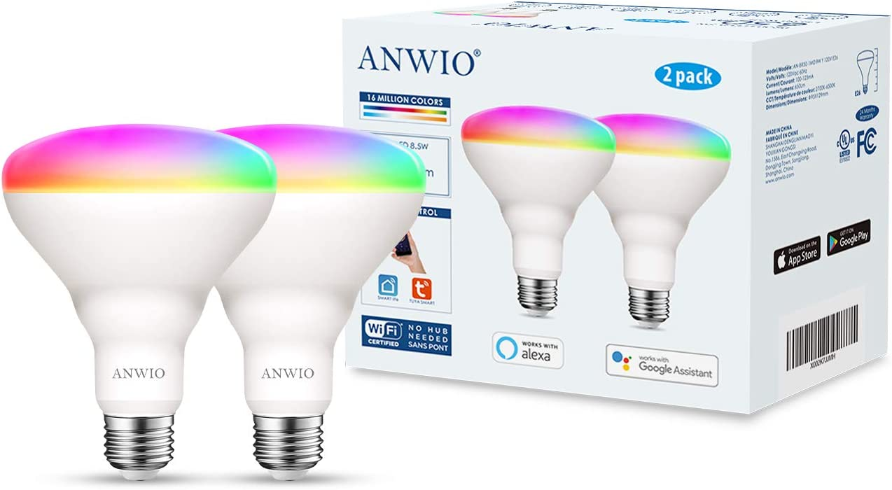 No Hub Required 2 Pack Google Assistant 650 Lumen 8.5W Compatible with Alexa 60W Equivalent ANWIO Smart Light Bulb BR30 RGB Color Changing LED WiFi Dimmable Multicolor Light Bulbs E26 Base