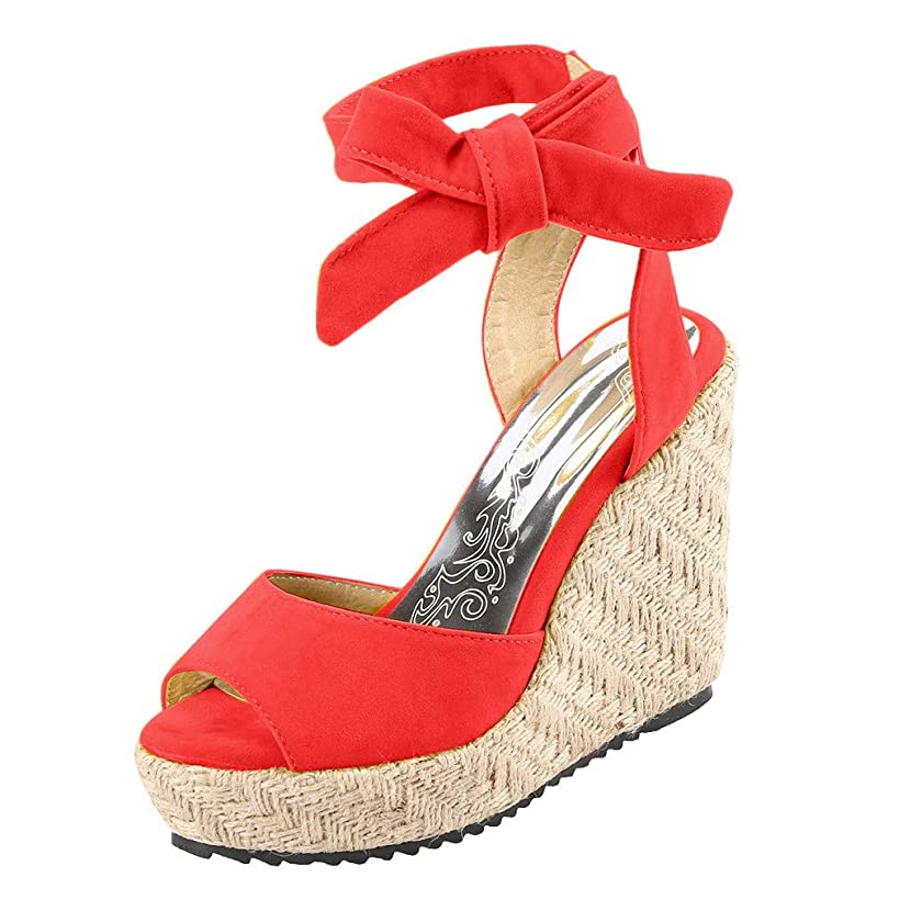 Women's Shoes for Women by SYHKS Simple Fashion Open Toe Wedges Thick Bottom Lace-Up Beach Shoes Roman Sandles for Women(35-43)