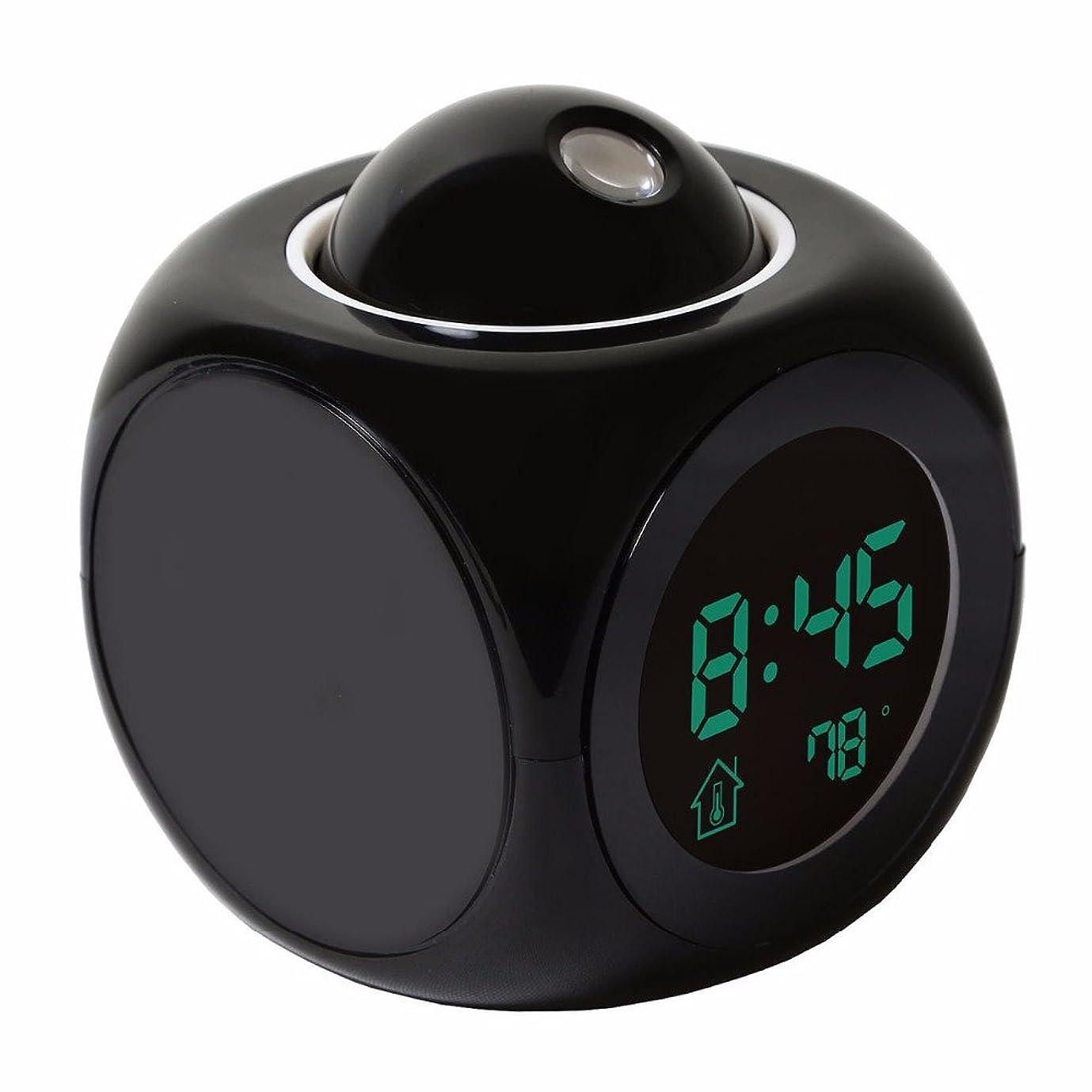 成果押し下げる尊厳C-清投影目覚まし時計音声デジタルLCDスクリーン電子体温計は、時間の壁天井プロジェクター、スヌーズ機能、リビングルームとベッドルームのためのかわいいデザインLEDディスプレイ,黒