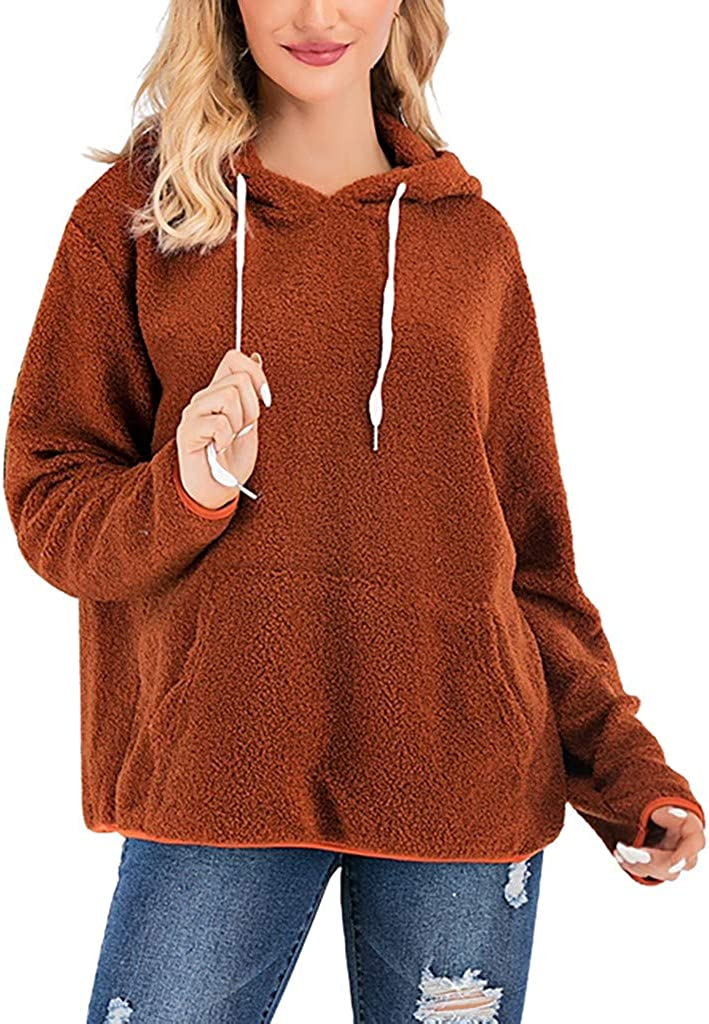 AODONG Plus Size Sweatshirts for Women Gubotare Women's Fuzzy Casual Loose Oversized Sweatshirt Hooded with Pockets Brown