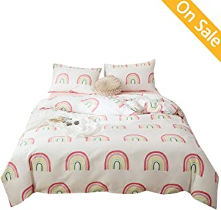 AMZTOP Pink Rainbow Duver Cover for Girls Cotton Twin Duvet Cover Sets Cute Rainbow Printed Bedding Sets 3 peices with Two Pillowcases for Girls Womens Comforter Cover for All Season,N0 Comforter