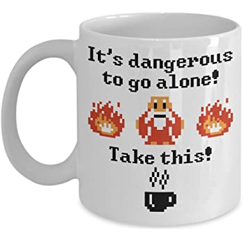 Funny Game Mug - It's Dangerous To Go Alone Take This! Coffee & Teacup - 11oz Ceramic Gaming Cup - Great Unique Gift Idea For Gamers, Siblings, Friends, Family, Him or Her