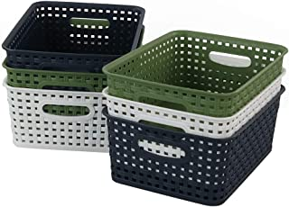 Rinboat Colored Rectangle Woven Storage Baskets Small Kitchen Organizer, White, Deep Green, Navy Blue, 6 Packs