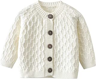 Unisex-Baby Infant Girls Boys Lovable Cable Button up Sweater Cardigan Tops White Grey Autumn,Winter