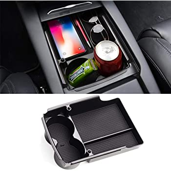 SUV Truck JIEHED Universal Wireless Charging Center Console Cushion Breathable Memory Foam Organizer Armrest Storage Box Holder Container Car Armrest Pad for Most Vehicle Car