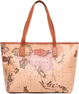 Big Retro Handbag Waterproof Leather Women Girls' World Map Tote Bag