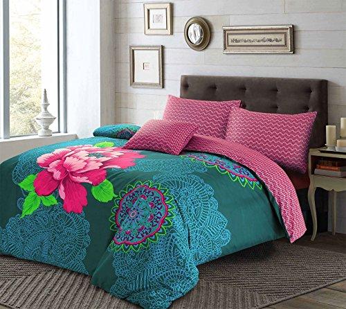 Janice Bohemian Boho Floral funda de edredón y fundas de almohada de color azul y morado, juego de ropa de cama, Purple/Teal, matrimonio grande