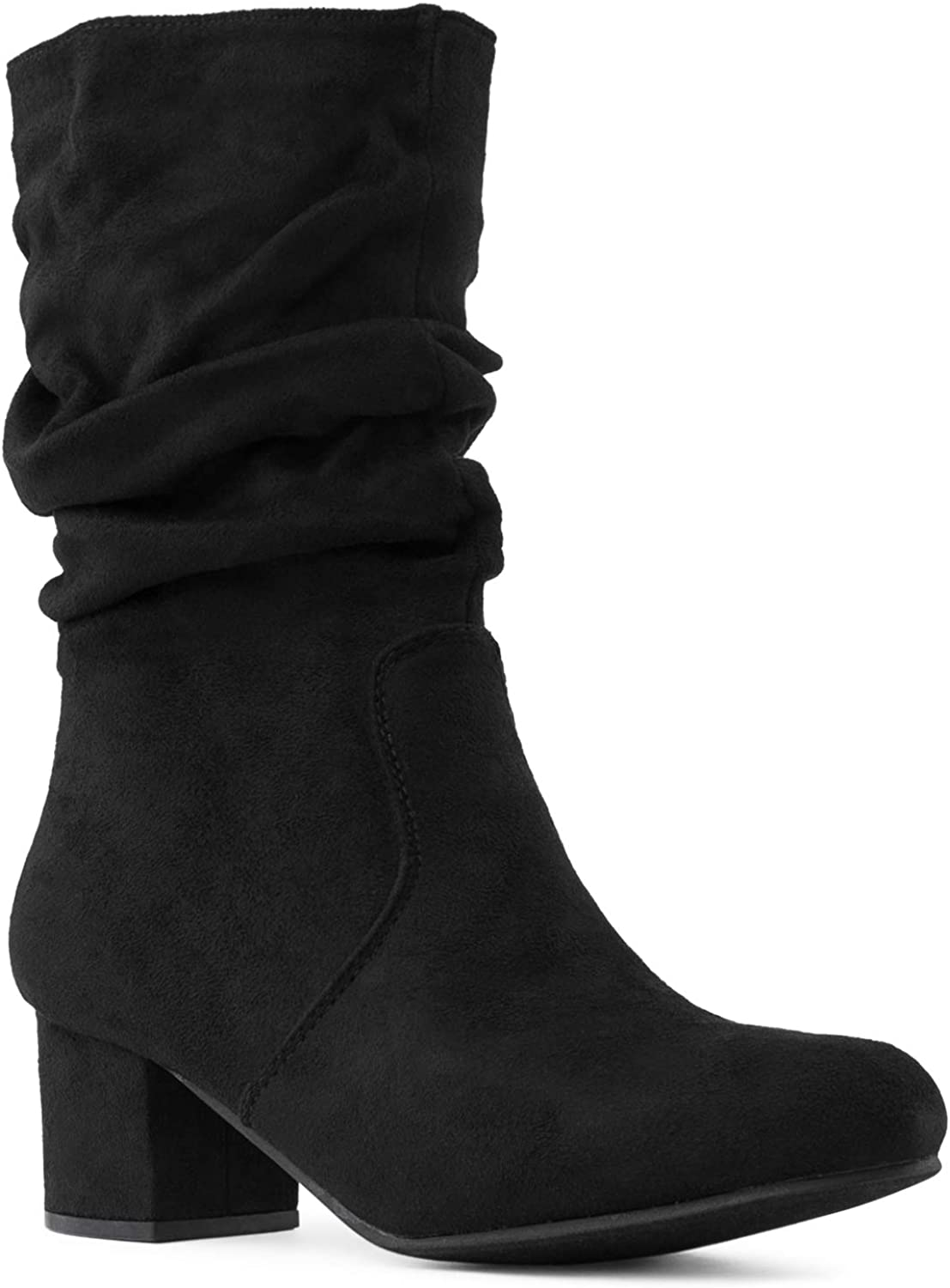 Women's Comfortable Block Heel Slouchy Ankle to Mid Calf Boots