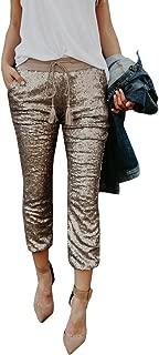 Women's Sexy Sequin Sparkle Wide Band Drawstring Carpi Skinny Legging Pants