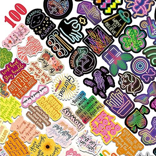 Aufkleber 100 Stück VSCO Vinyl Sticker Wasserdicht Coole Neon und Aesthetic Sprüche Aufkleber Set für Fahrrad Skateboard Motorrad Auto Laptop MacBook iPad Decals Dekoration Aufkleber