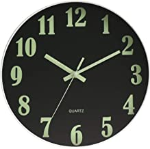 HENGDASI Luminous Wall Clock Black 12 Inch Silent Non Ticking Battery Operated Glass Cover Easy to Read Round Decorative f...