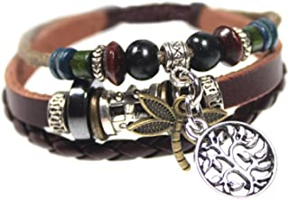 Dragonfly and Tree of Life Three Strand Beaded Leather Zen Bracelet in Gift Box