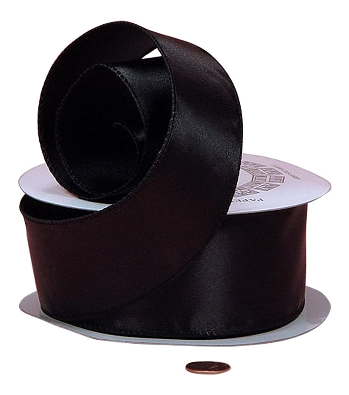 Black Cast-Over Wired Satin Ribbon, 1-1/2