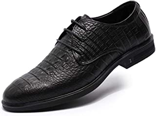 XueQing Pan Dress Oxfords for Men Fashion Loafers Lace up Genuine Leather Pointed Toe Block Heel Embossed Vamp Solid Color Non-Slip (Color : Black, Size : 5.5 UK)