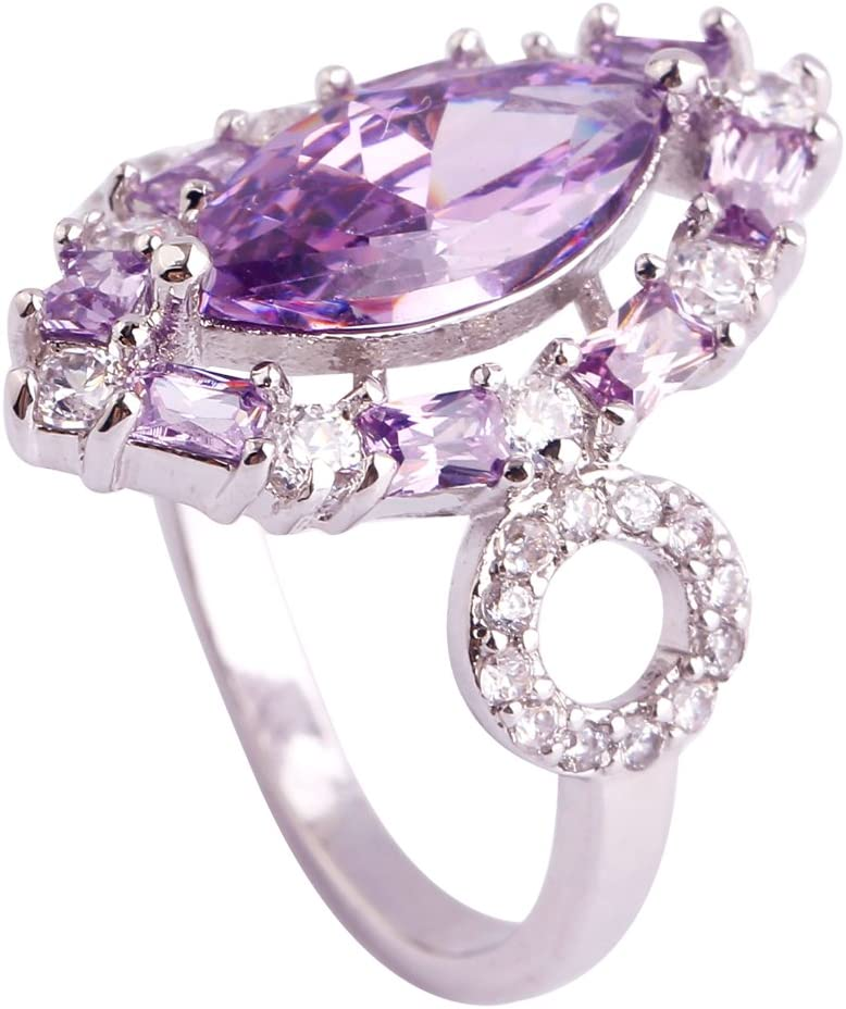 Veunora 925 Sterling Silver Created Marquise Cut Ruby Spinel Filled Gorgeous Cluster Promise Ring for Women