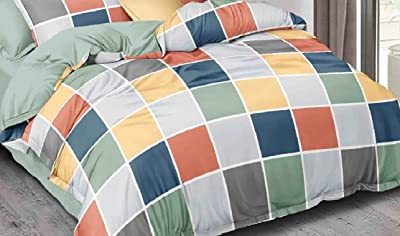 Laying Style™ Soft Glace Cotton Printed King Size Bedsheet with 2 Pillow Covers (90x100 Inch, Multi) Set of 3