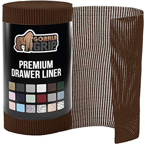 Gorilla Grip Original Drawer and Shelf Liner, Non Adhesive Roll, 12 Inch x 20 FT, Durable and Strong, for Drawers, Shelves, Cabinets, Storage, Kitchen and Desks, Chocolate
