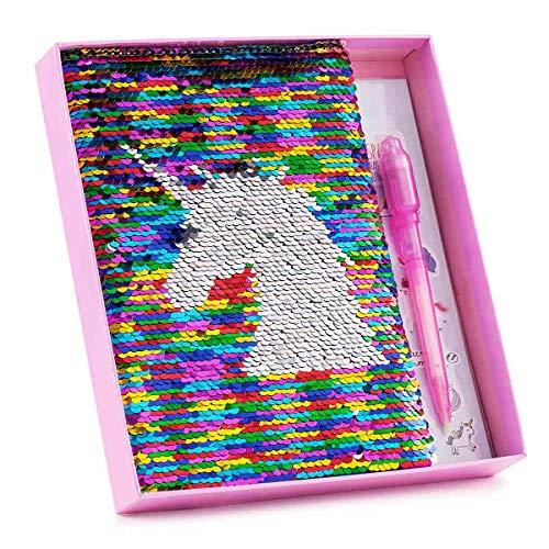 Mädchen Geheimes Tagebuch Pailletten Einhorn Tagebuch & Zauberstift mit Einhorn-Aufkleber für Mädchen Kinder Geheime Keeper Privates Tagebuch Tolles Weihnachtsgeschenk für Mädchen im Alter 5 6 7 8 9+