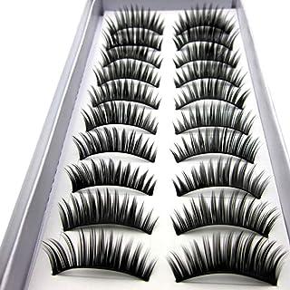 10 Pairs Natural False Eyelashes Long Thick Cross Eye Lash Makeup Tool 028#