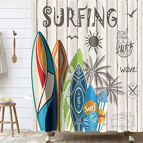 Summer Surfing Shower Curtains, Tropical Surfboard Palm Tree on Beige Rustic Wooden Plank Beach Shower Curtain for Bathroom Decor Polyester Fabric Bathtub Curtain with Hooks Waterproof 69x70inches