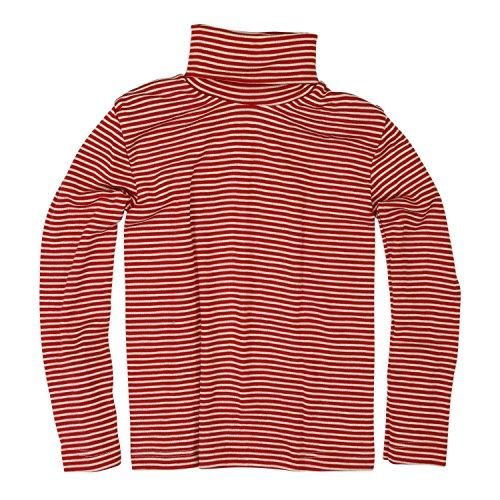 Cosilana Kinder Rollkragen, Größe 104, Farbe Rot Geringelt - Wollbody®GmbH