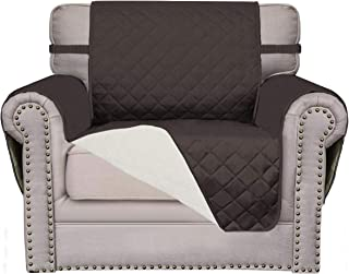 Easy-Going Sofa Slipcover Reversible Sofa Cover Furniture Protector Anti-Slip Foams Couch Cover Water Resistant Elastic Straps PetsKidsChildrenDogCat(Chair,Chocolate/Ivory)