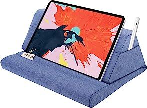 "MoKo Tablet Pillow Stand, Soft Bed Pillow Holder Fits up to 11"" Pad Fit with New iPad Air 3rd Gen iPad Mini 5th Gen, iPad Pro 11 2018/10.5/9.7, Air Mini 1 2 3 4, Samsung Galaxy Tab, Denim Blue"