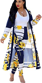 Womens 2 Piece Outfits Strips Floral Print Open Front Cardigan Pants Set