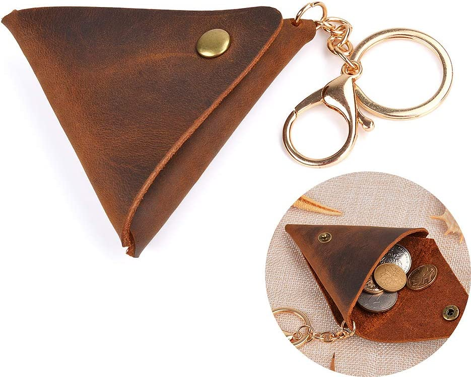 Juland Rustic Leather Pocket Coin Case Genuine Leather Squeeze Coin Purse Pouch Change Holder Tray Purse Wallet for Men & Women - Brown