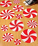 Rekcopu 12Pcs Peppermint Floor Decals Stickers for Christmas Candy Party Decoration Supplies