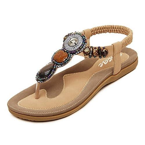 801ccf1d6d442b Zicac Women s Open Toe Sandals Summer Bohemia Rhinestone Bead Folk Dunlop  Sandals Boho Beach Flip Flops